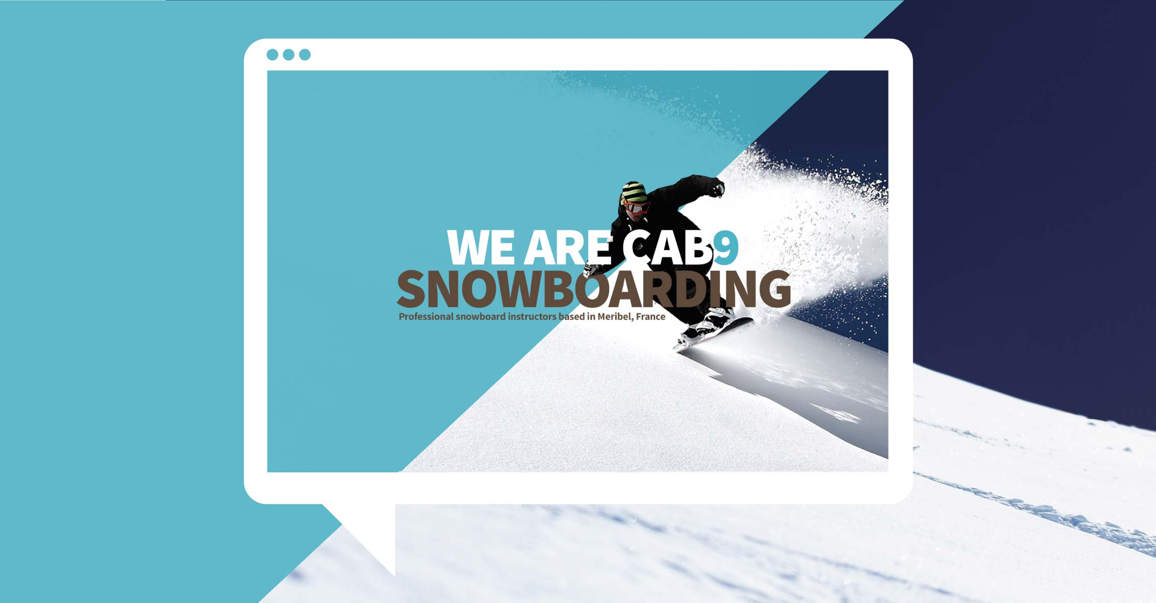 Snowboarder travel website image framed in tablet