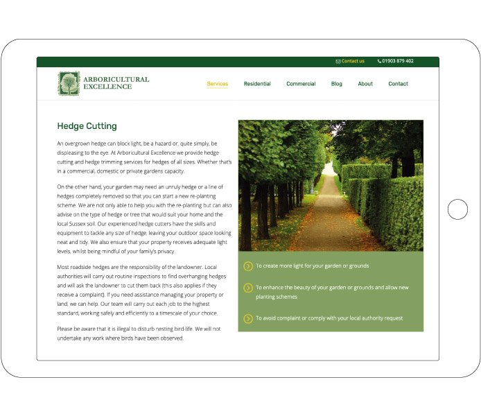 Hedge cutting design for for Arboricultural Excellence for tablet