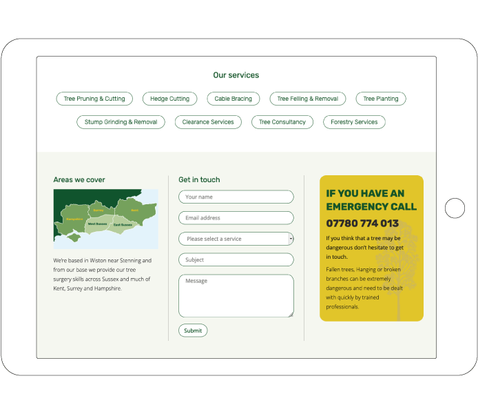 Contact form design for Arboricultural Excellence for tablet devices
