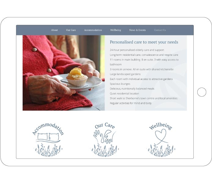 Garden house Carehome Business Homepage Services Design Tablet