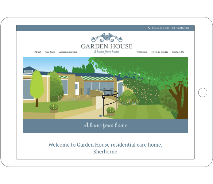 Garden house Carehome Business Homepage Design Tablet
