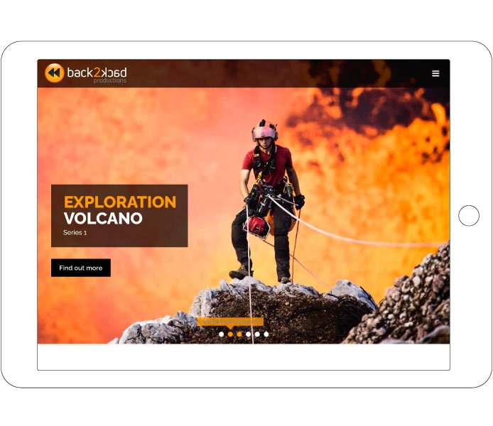 Tablet hero slider for Exploration Volcano